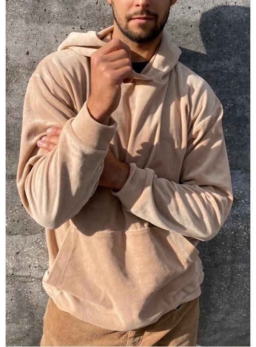 Pánska velúrová mikina s kapucňou hnedá, L