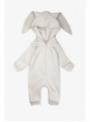 detský overal s kapucňou a uškami BIELY - 0-3 mes