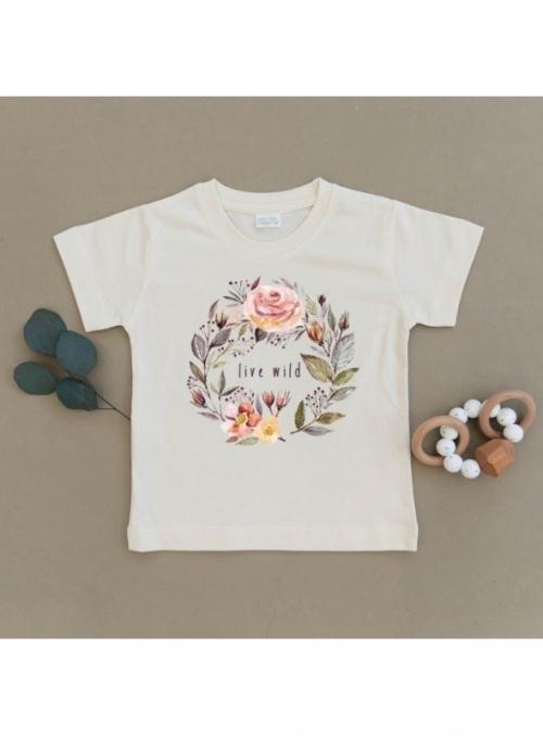 Live wild - dětské tričko s růžičkami, matching rodinné