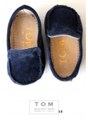 6TOM baby moccacin suede blue with rubber tods