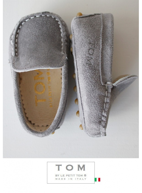 8TOM baby moccasin suede grey with rubber tods
