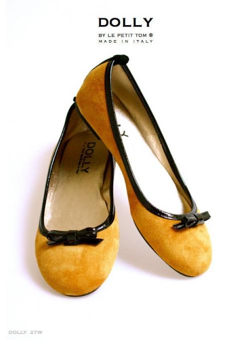 DOLLY by Le Petit Tom ® dámske balerínky 27W zo zlatej kože