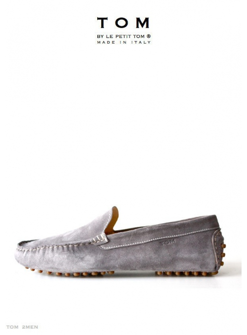 TOM by Le Petit Tom ® MENS MOCCASINS GREY Suede + leather lining