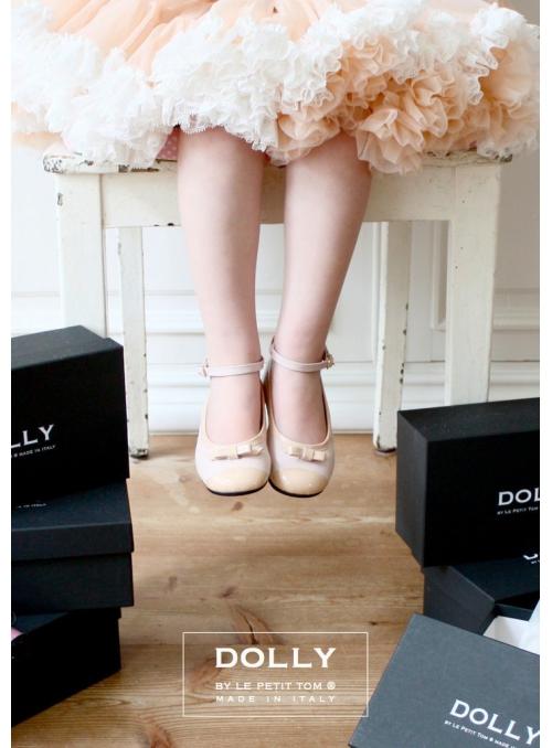 DOLLY by Le Petit Tom ® klasické dívčí balerínky 20GB růžová kůže + krémová špička a mašlička