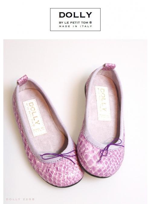 DOLLY by Le Petit Tom ® klasické dívčí balerínky 22GB s hadím vzorem , levandulové