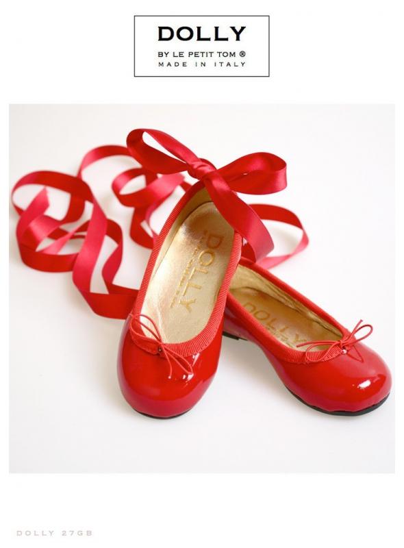 DOLLY by Le Petit Tom ® klasické dievčenské balerínky 'ČERVENÉ JABĹČKO' 27GB