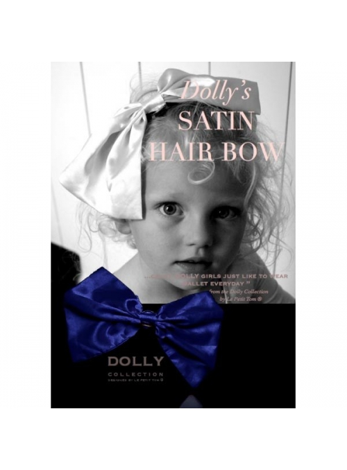 CLASSIC SATIN HAIR BOW dark blue