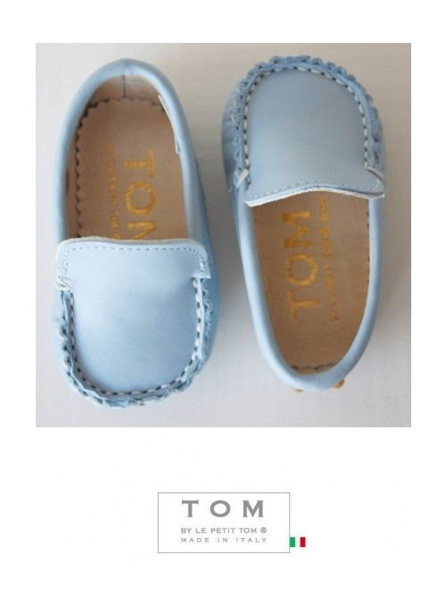 9TOM baby moccasin leather blue with rubber tods