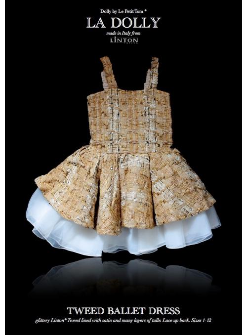LA DOLLY Tvídové baletní šaty z LINTON TVÍDU – zlato/béžové