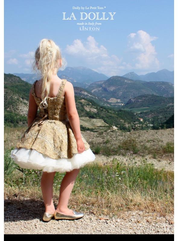 LA DOLLY Tvídové baletní šaty z LINTON tvídu - zlato / béžové