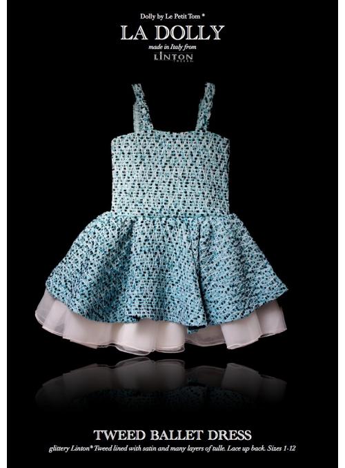 LA DOLLY Tweed ballet dress from LINTON TWEED - blue