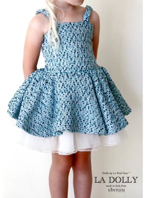 LA DOLLY Tvídové baletní šaty z LINTON tvídu – modré