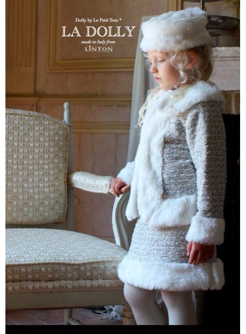 LA DOLLY Zimní kostým z LINTON tvídu - bílo / ledově modrá