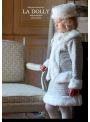 LA DOLLY Zimní kostým LINTON TVÍDU – bílo/ledověmodrý