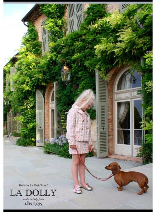 LA DOLLY Byznys kostým z LINTON tvídu - růžový třpytivý