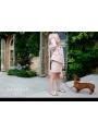 LA DOLLY Biznis kostým LINTON TVÍDU – růžově třpytivý