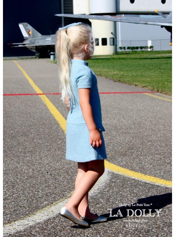 """LA DOLLY šaty """"letuška"""" z LINTON tvídu - modré"""