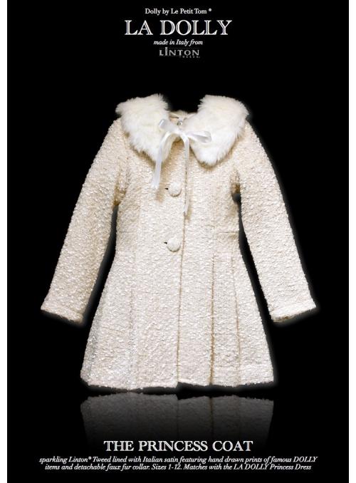 LA DOLLY PRINCEZNIČKOVSKÝ kabát z LINTON TVÍDU – bílý