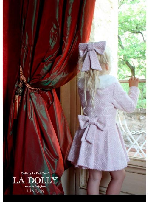LA DOLLY PRINCEZNIČKOVSKÝ kabát z LINTON TVÍDU – růžový