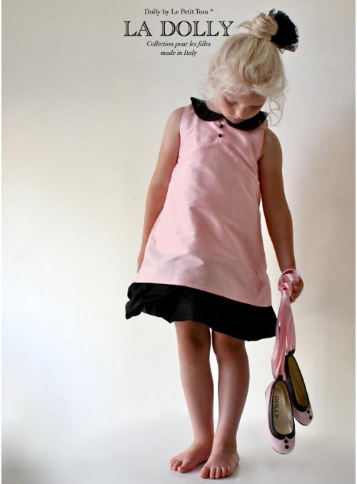 """LA DOLLY šaty """"PANENKA""""– růžové s černým límečkem"""