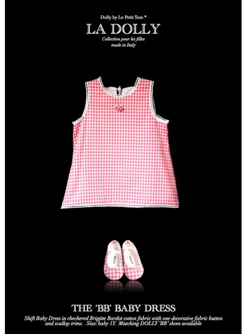 "LA DOLLY ""BB baby šaty"" – růžové kárované"