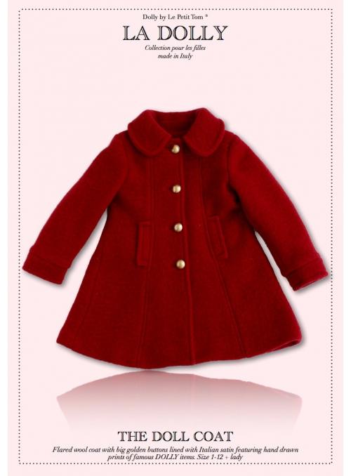"""LA DOLLY vlněný """"panenkovský kabát"""" – červený"""