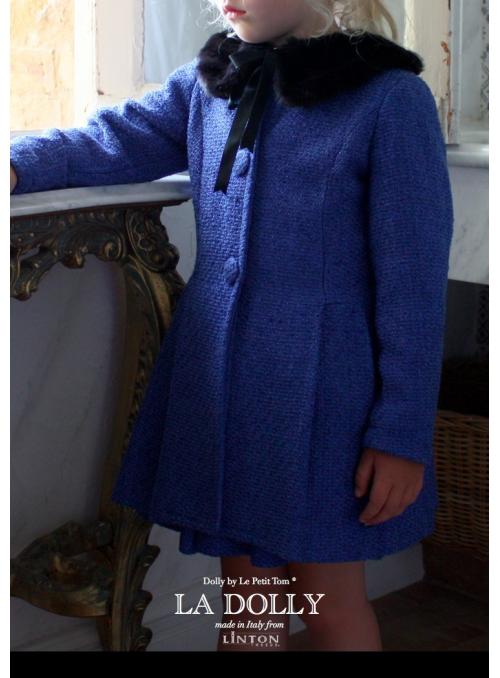 LA DOLLY PRINCEZNIČKOVSKÝ kabát z LINTON tvídu - modrý