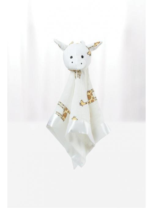 Kravička - hračka z pleny s potiskem se žirafami