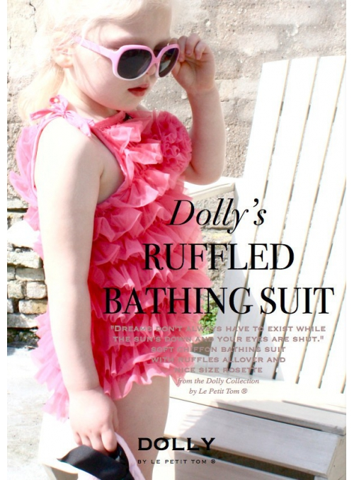 RUFFLED BATHING SUIT WITH ROSETTE pink