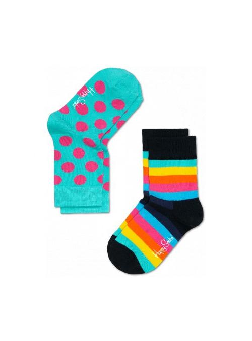 Happy Socks 2-balenie: detské ponožky – farebné prúžky + bodky