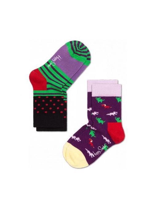 Happy Socks 2-balenie: detské ponožky – zvieratká + prúžky /fialovo-zelená/