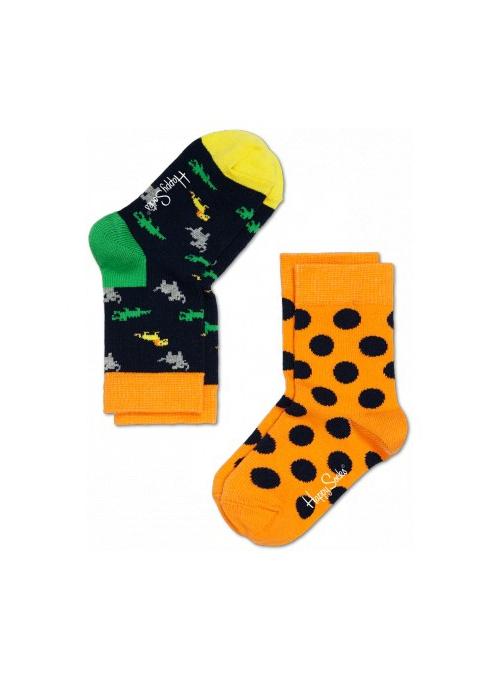 Happy Socks 2-balenie: detské ponožky – zvieratká + prúžky /modro-oranžová/