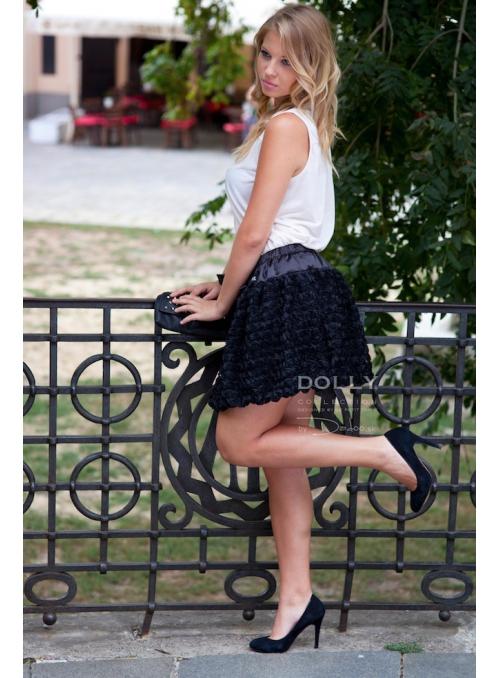 Růžičková balonová sukně s mašlí černá