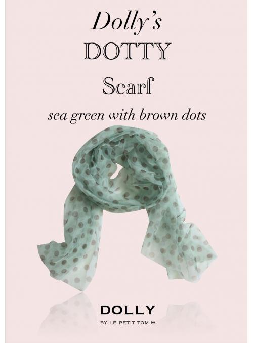 DOLLY tečkovaný šátek mořský modrý s hnědými puntíky