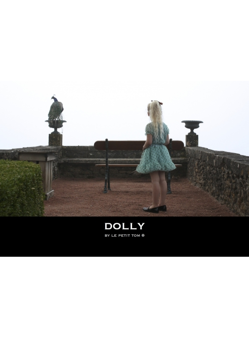 DOLLY dotted skirt - sea blue with brown dots