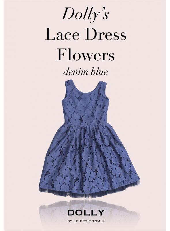 DOLLY čipkové kvetové šaty – námornícka modrá
