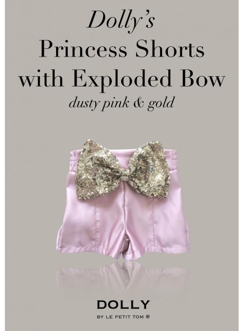 DOLLY princezničkovské šortky s veľkou flitrovou mašľou – ružové
