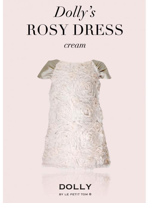 DOLLY RUŽOVÉ šaty /veľké kvety ruží/ - krémové