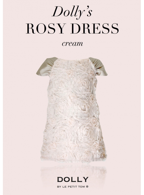 DOLLY pink dress / large roses / - cream