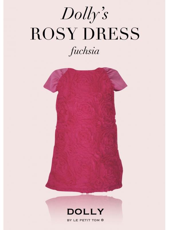 DOLLY RŮŽOVÉ šaty / velké květy růží / - fuchsiové