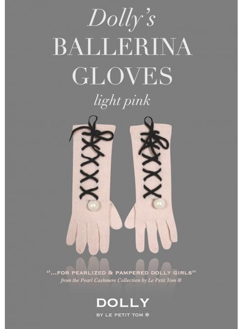 DOLLY perličkové ballerina kašmírové rukavice – bleděrůžové