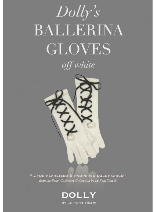 DOLLY perličkové ballerina kašmírové rukavice – krémovobiele