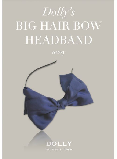 DOLLY by Le Petit Tom ® luxusní šifónová čelenka s velkou mašlí - námořnická modrá
