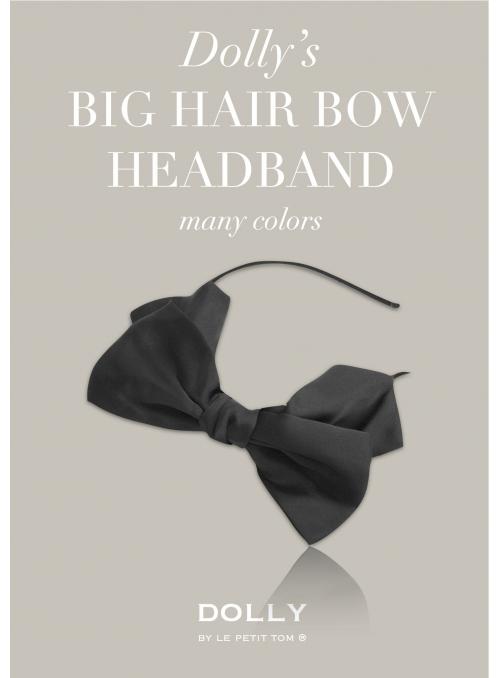 DOLLY by Le Petit Tom ® luxusní šifónová čelenka s velkou mašlí - černá