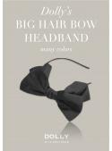 DOLLY by Le Petit Tom ® luxusná šifónová čelenka s veľkou mašľou – čierna
