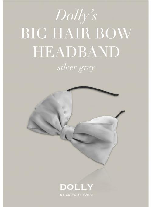 DOLLY by Le Petit Tom ® luxusní šifónová čelenka s velkou mašlí - stříbřitě šedá
