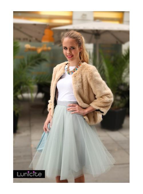 Lunicite ŠEDÝ TULIPÁN - exkluzivní tylová sukně stříbřitě šedá