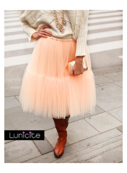 Lunicite broskvový LEKNÍN - exkluzivní nadýchaná sukně - broskev