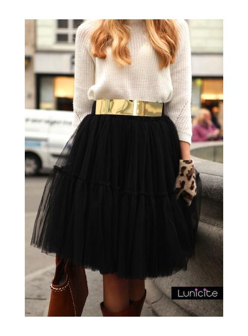Lunicite ČERNÝ LEKNÍN - exkluzivní nadýchaná sukně - černá