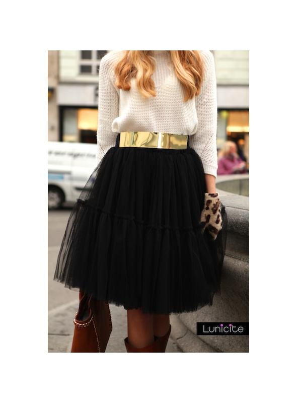 Lunicite BLACK waterlily - exclusive fluffy skirt - black